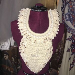 One of a kind woven bib necklace